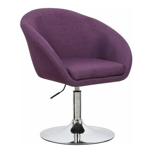 Contemporary Bar Stool Upholstered, Linen Fabric, Adjustable Height, Purple