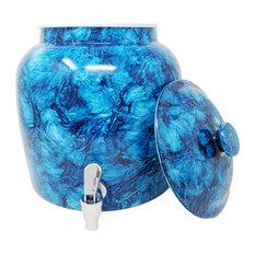 Porcelain Beverage Dispenser With Lid, 2.5 Gallon, Dark Blue Marble