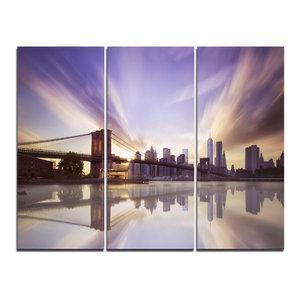 """Purple Sky Over Brooklyn Bridge"" Photo Wall Art, 3 Panels, 36""x28"""
