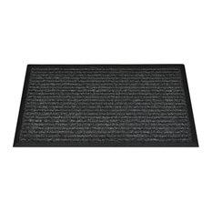 Garden Selections   Smart Solar Anthracite Striped Rubber Backed Doormat   Door  Mats
