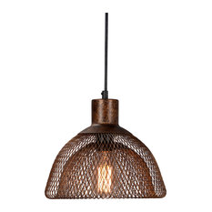"Polaris Distressed Iron Mesh Pendant Small, Rustic Bronze, 10"" by Kosas Home"