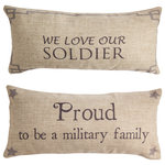 Evelyn Hope Collection - Soldier/Military Doublesided Pillow - Evelyn hope collection pillows are unique, they have specially designed messages on the front and back. Zippered covers are easy to change for every reason and season. Order is for one pillow with insert, with a different design on each side. Inserts are USA made, mold resistant polyester. Pins shown are not included.