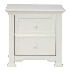 Contemporary Nightstand 2 Large Storage Drawers White Finish