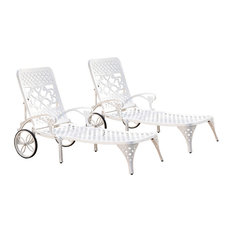 Home Styles Biscayne Chaise Lounge Chairs in White (Set of 2)