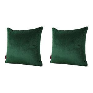 GDF Studio Velvin New Velvet Throw Pillow, Emerald, Set of 2