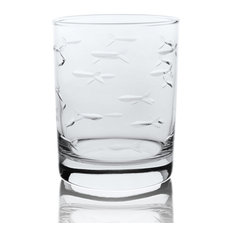 School of Fish  Double Old Fashioned Glasses 14oz, Set of 4