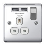 Nexus 13A Single Socket with 2 x USB Charger, Polished Chrome, White Inserts