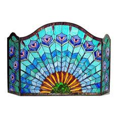 Regal Eudora Tiffany-Glass 3-Piece Folding Peacock Fireplace Screen