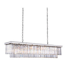Fringe 12-Light Chandelier, Polished Nickel, Clear, With LED Bulbs