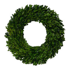"""Mills Floral Company - Preserved Boxwood Garden Wreath, 17"""" - Wreaths and Garlands"""