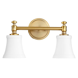 Quorum Rossington 2-Light Vanity, Aged Brass With Satin Opal