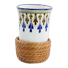 Country Flowers Ceramic and Pine Needle Cup With Holder