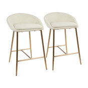 "LumiSource Matisse 26"" Counter Stool With Gold Frame and Cream, Set of 2, Gold,"