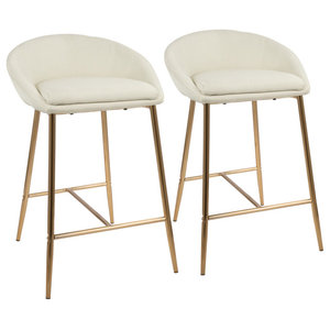 """LumiSource Matisse 26"""" Counter Stool With Gold Frame and Cream, Set of 2, Gold,"""