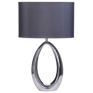1 Light Hollow Silver Table Lamp With Fabric Shade