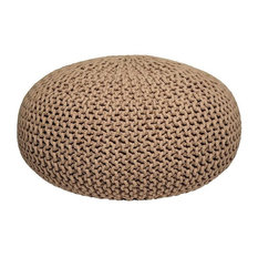 Knitted Pouffe, Beige, Large
