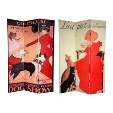 Double Sided 6 ft. Dogs & Cats Canvas Privacy Screen - 3 Panels