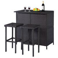 Costway 3PCS Rattan Wicker Bar Set Patio Outdoor Table & 2 Stools Furniture