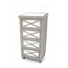 39-inch X 13-inch X 19-inch Silver 4 Drawer Tropical Style Mirrored Chest