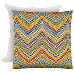 Joita, llc - Googler Indoor/Outdoor Zippered Pillow Covers With Inserts, Set of 2 - Set of 2 - GOOGLER is an eclectic pillow cover at its best. The pillow cover has colors in reds, blues, oranges, lime, yellow, teal, blue and ivory. Chevron print made of little irregular rectangles is a mixture between a native print, an Indian print and modern. (You choose.) Constructed with an outdoor rated zipper, thread and fabric. Printed pattern on polyester fabric. To maintain the life of the pillow cover, bring indoors or protect from the elements when not in use. Machine wash on cold, delicate. Lay flat to dry. Do not dry clean. Two zippered covers and two inserts included.