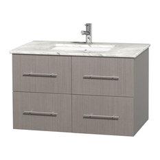 """Centra 36"""" Bathroom Vanity, Grey Oak, Carrera Marble Top"""