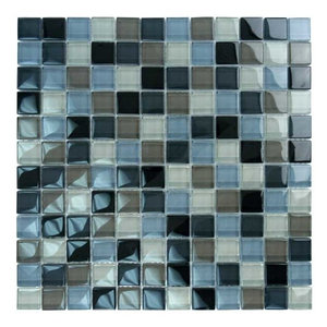 """12""""x12"""" Glass Tile Blends Crystal Series, Black Charcoal Gray Taupe Blend"""