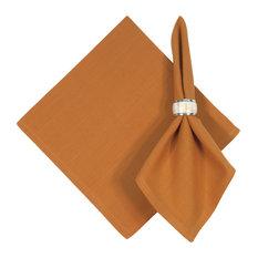 "Hand Woven 100% Cotton Solid Pumpkin Orange 22""x22"" Napkins, Set of 6, Pumpkin"