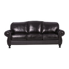Gdfstudio Corina Stud Accented Dark Brown Leather Sofa Sofas