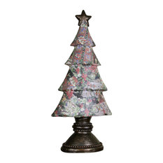 """20"""" Antique-Style Victorian Holly Berry Decoupage Christmas Tree Table Top"""