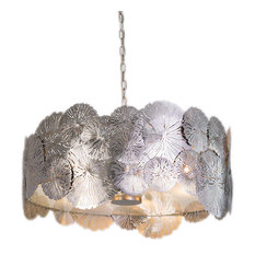 Luxe Modern Silver Lily Pad Pendant Light | Chandelier Organic Botanical Round