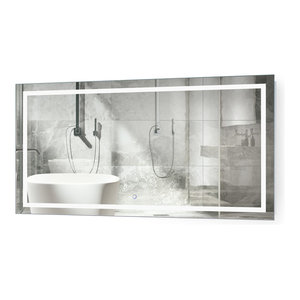 "Large LED Lighted Bathroom Mirror With Defogger and Dimmer, 54""x24"""