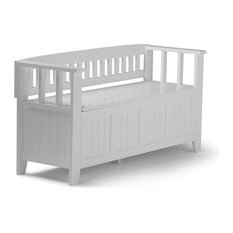 Simpli Home Acadian Entryway Storage Bench in White