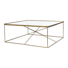 Lucas Coffee Table Antique Brass Tempered Glass