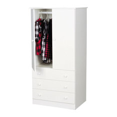 Prepac Furniture   Prepac White Edenvale 30 Inch 3 Drawer Junior Wardrobe    Armoires And