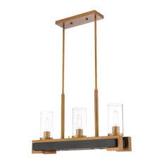 Livex Lighting Buttonwood Light Linear Chandelier, Aged Gold