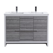 Dolce Double Sink Vanity With Quartz Countertop, Ash Gray With White, 48""