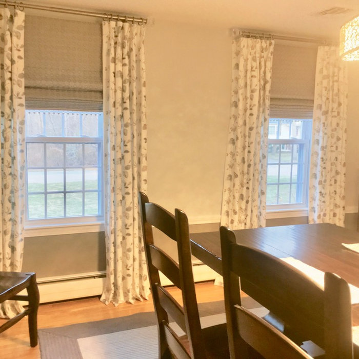 Draperies and Roman shades in Wickford Dining Room