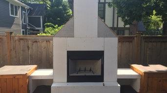 Outside moder rustic chimney