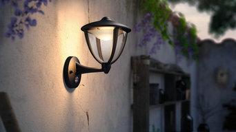 Klassische LED Außenwandleuchte Robin mit Sensor