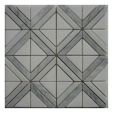 Triangle With Strip Marble Mosaic Tile, Carrara White, Sample