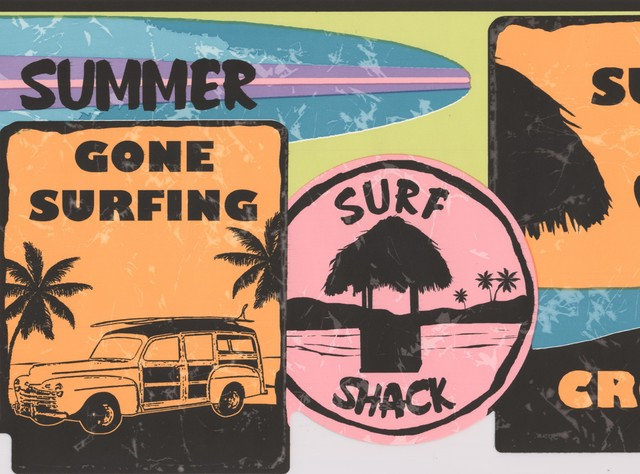 Retro Surf Signs Vintage Wallpaper Border For Surfer Teen