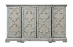 Ivory Gray Quatrefoil 4-Door Cabinet, Entertainment TV Center