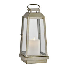 Edgewater Outdoor LED Table Lantern, Champagne Silver, Clear