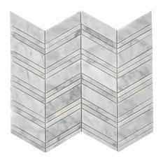 "Polished Tile On Mesh Mosaic, Bianco Carrara Chevron 12""x12"""