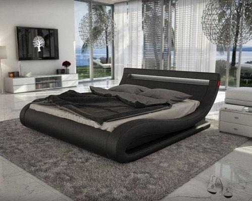 Corsica Black Leather Bed Wit Led Light