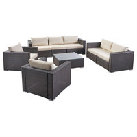 Samuel Outdoor 7 Seater Wicker Sofa Chat Set With Cushions, Multibrown