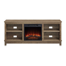 58-inch Charmant Fireplace TV Stand With Remote Control Storage Shelves Wood