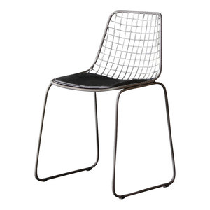 Wire Dining Chair, Black Pad