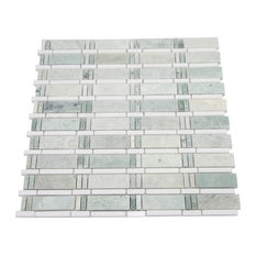 "Newport Green Dream Blend 12x 12 Mesh-Mounted Marble Mosaic Tile, 4""x4"" Sample"