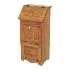 Amish Made Oak Flip Top Vegetable Bin With 2 Additional Doors, Wheat Carving